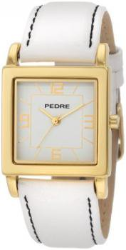 Pedre Women's 7954GX Gold-Tone with White Leather Strap Watch