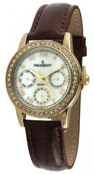 Peugeot Women's 3025 Gold-Tone Swarovski Crystal Accented Multi-Function Brown Leather Strap Watch