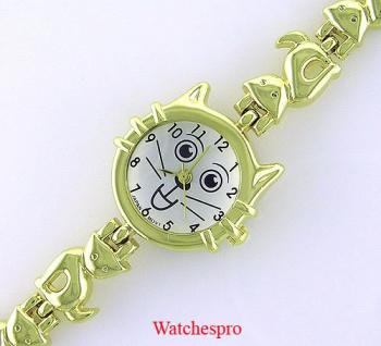 New Round Womens Gold Cat Stainless Bracelet Watch