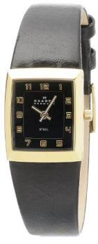Skagen Women's 523XSGLB Gold Plated, Black Dial, Black Leather Band Watch