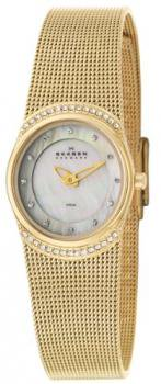 Skagen Women's 686XSGG Crystal Accented Mother of Pearl Gold Mesh Watch