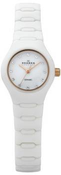 Skagen Women's 816XSWXRC1 Ceramic White Goldtone and Crystal Accent Dial Watch