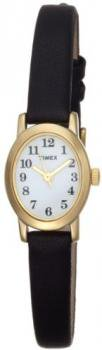 Timex Women's T2M566 Cavatina Gold-Tone Case Black Leather White Dial Watch