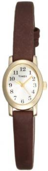 Timex Women's T2M567 Cavatina Gold-Tone Case Brown Leather Champagne Dial Watch