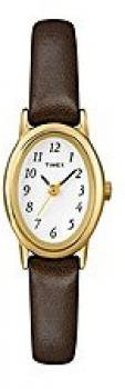 Timex Women's T2N256 Classic Cavatina Gold-Tone Case Brown Leather White Dial Watch