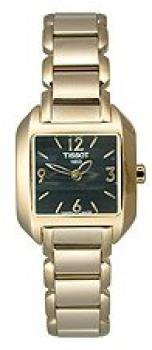 Tissot Women's T02528552 T-Wave Goldtone Stainless-Steel Black Dial Watch