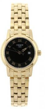 Tissot Women's T031.210.33.053.00 Ballade III Polished Gold Stainless-Steel Case Black Dial Watch