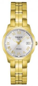 Tissot Women's T0492103303300 PR 100 Gold-Tone Silver Dial Watch