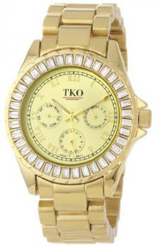 TKO ORLOGI Women's TK520-GD Capri Metal Gold Swarovski Crystal Watch