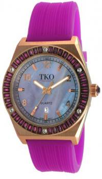 TKO ORLOGI Women's TK580-PR Royale Rosegold Purple Crystal Purple Rubber Strap Watch