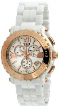 TKO ORLOGI Women's TK581-WRG Genuine Ceramic White Rose Gold Multifunction Watch