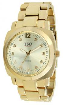 TKO ORLOGI Women's TK582-G Gold Round Metal Bracelet with Crystal Markers Watch