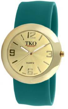TKO ORLOGI Women's TK614-GTL Gold Slap Metal Teal Watch