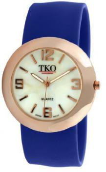TKO ORLOGI Women's TK614-RBL Rose Gold Slap Metal Blue Watch