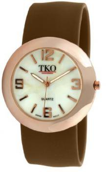 TKO ORLOGI Women's TK614-RBR Rose Gold Slap Metal Brown Watch