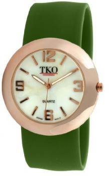 TKO ORLOGI Women's TK614-RGR Rose Gold Slap Metal Green Watch