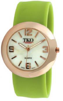 TKO ORLOGI Women's TK614-RLM Rose Gold Slap Metal Lime Watch