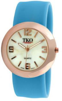 TKO ORLOGI Women's TK614-RNB Rose Gold Metal Neon Blue Slap Watch