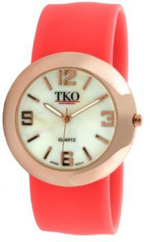TKO ORLOGI Women's TK614-RNO Rose Gold Metal Neon Orange Slap Watch