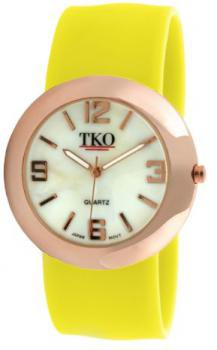 TKO ORLOGI Women's TK614-RNY Rose Gold Metal Neon Yellow Slap Watch