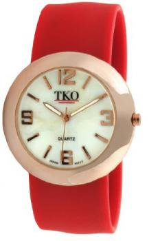 TKO ORLOGI Women's TK614-RRD Rose Gold Slap Metal Red Watch