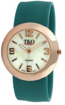 TKO ORLOGI Women's TK614-RTL Rose Gold Slap Metal Teal Watch