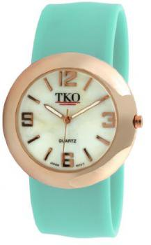 TKO ORLOGI Women's TK614-RTQ Rose Gold Slap Metal Turquoise Watch