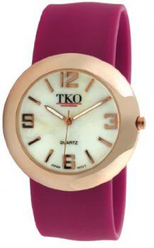 TKO ORLOGI Women's TK614-RWN Rose Gold Slap Metal Wine Watch