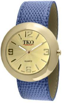 TKO ORLOGI Women's TK616-GBL Leather Slap Gold Blue Watch