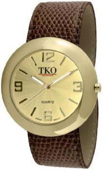 TKO ORLOGI Women's TK616-GBR Gold Brown Leather Slap Watch