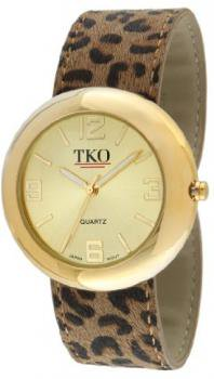 TKO ORLOGI Women's TK616-GLP Leather Slap Gold Leopard Watch