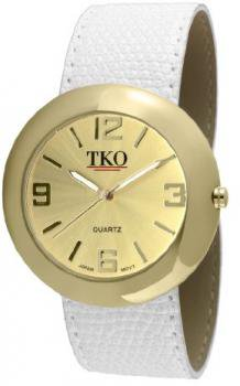 TKO ORLOGI Women's TK616-GWT Leather Slap Gold White Watch