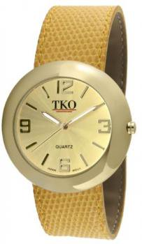 TKO ORLOGI Women's TK616-GYL Gold Yellow Leather Slap Watch