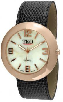 TKO ORLOGI Women's TK616-RBK Rose Gold Black Leather Slap Watch