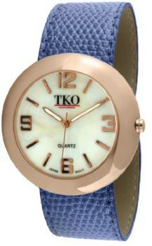 TKO ORLOGI Women's TK616-RBL Rose Gold Blue Leather Slap Watch