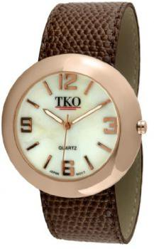 TKO ORLOGI Women's TK616-RBR Leather Slap Rose Gold Brown Watch