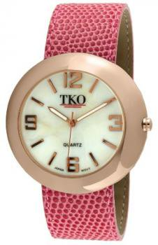 TKO ORLOGI Women's TK616-RFS Rose Gold Fuchsia Leather Slap Watch
