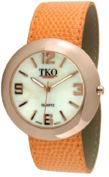 TKO ORLOGI Women's TK616-ROR Leather Slap Rose Gold Orange Watch