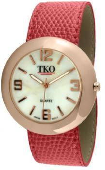 TKO ORLOGI Women's TK616-RRD Rose Gold Red Leather Slap Watch
