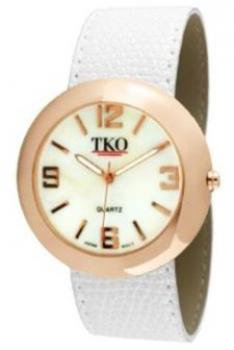 TKO ORLOGI Women's TK616-RWT Rose Gold White Leather Slap Watch