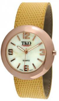 TKO ORLOGI Women's TK616-RYL Rose Gold Yellow Leather Slap Watch