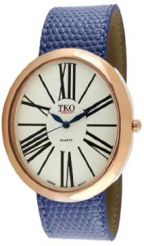 TKO ORLOGI Women's TK617-RBL Rose Gold Blue Leather Slap Watch