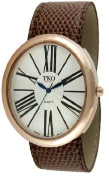 TKO ORLOGI Women's TK617-RBR Leather Slap Rose Gold Brown Watch
