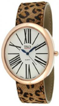 TKO ORLOGI Women's TK617-RLP Leather Slap Rose Gold Leopard Watch