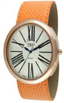 TKO ORLOGI Women's TK617-ROR Rose Gold Orange Leather Slap Watch