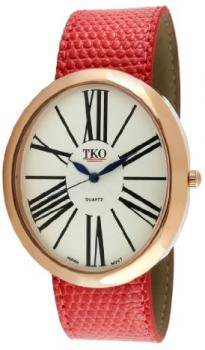 TKO ORLOGI Women's TK617-RRD Rose Gold Red Leather Slap Watch
