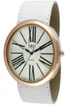 TKO ORLOGI Women's TK617-RWT Rose Gold White Leather Slap Watch
