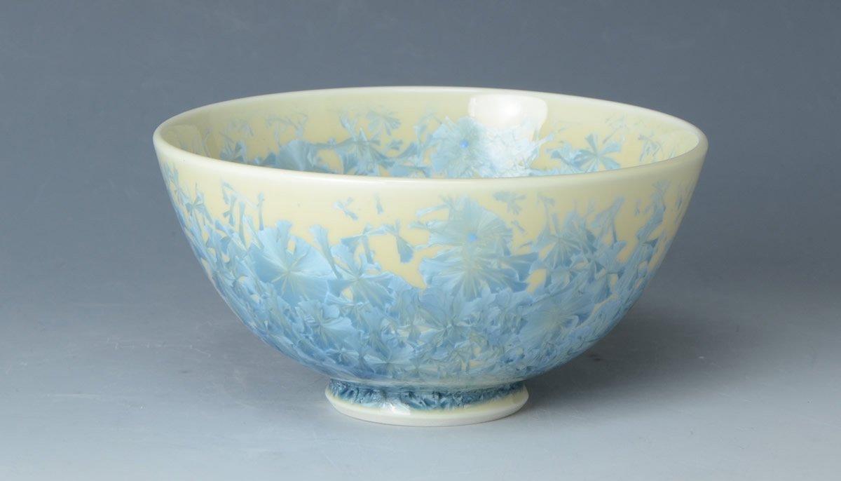 【京焼・清水焼 くまがい】花結晶(縹)(はなけっしょう(はなだ))-飯碗-窯名「陶あん」