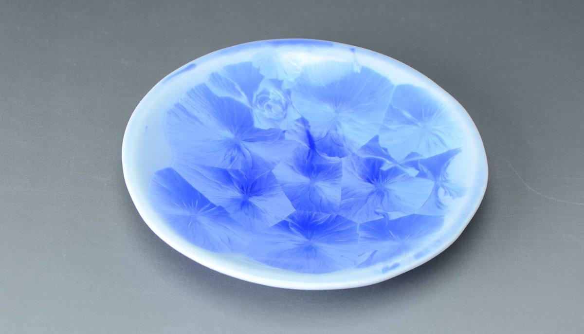 【京焼・清水焼 くまがい】花結晶(青)(はなけっしょう(あお))-三寸皿-窯名「陶あん」