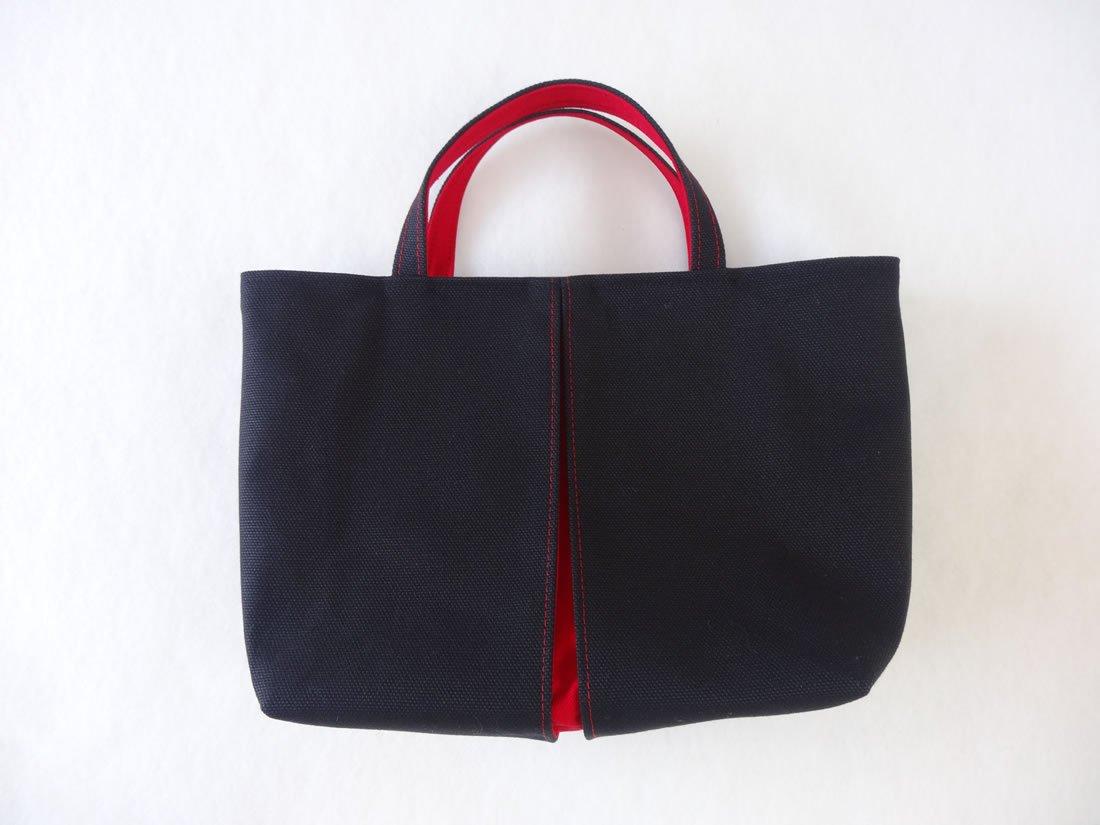 【光章-KOSHO-】帆布<pleats>トートバッグYS 墨色/紅色